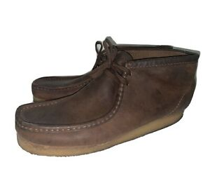 Clarks Originals Mens Wallabee Beeswax Brown Leather Chukka Boots Size 15M