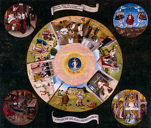 Hieronymus Bosch- The Seven Deadly Sins and the Four Last Things, Canvas Print