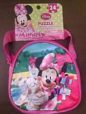Disney Minnie Mouse 24 pc Puzzle w/24 PC PUZZLES CARRY & GO PURSE Girls New
