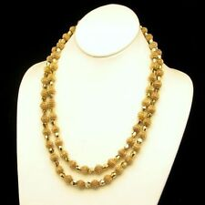 CROWN TRIFARI Vintage Necklace 2 Multi Strand Gold Plated Crystal Beads 10m
