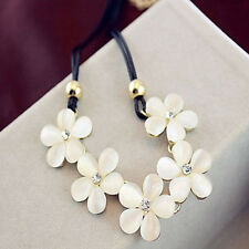 Bohemian Cream White Cat Eye Opal Flower Choker Necklace Chain Crystal Jewelry