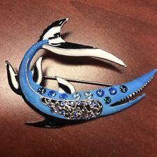 Brooch Pin Silver Tone Shark New Fashion Animal Jewelry Blue Rhinestone