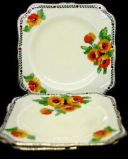 Vintage 1920s Crown Ducal Hand Painted Orange Marigold Gold Edging Set 3 Plates