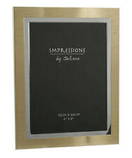 """Modern Juliana Brushed Metal Two Tone Gold Silver Photo Frame 6"""" x 8"""" Picture"""