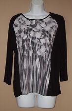 Womens Size Medium 3/4 Long Sleeve Fall Fashion Black Gray Floral Top Shirt
