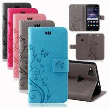 Huawei Handy Tasche Handyhülle Schutz Hülle Blumen Flip Cover Buch Case Etui