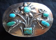 Sterling Turquoise SILVER BOX Flower Design *88.8 Grams* 3x2x1*NATIVE AMERICAN*