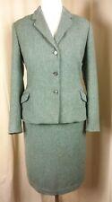 Vintage 50s Green Wool Herringbone Skirt Suit UK 10