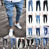 Mens Slim Fit Biker Jeans Ripped Denim Distressed Pants Skinny Pencil Trousers