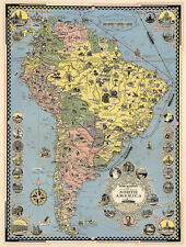 Midcentury Pictorial Map Cruise Routes New York to South America Wall Art Poster
