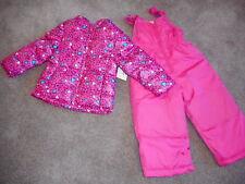 Snowsuits Pink Hearts Puffer Jackets Girls Snow Bibs Coats 2 pc Set  18 mos