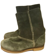Coolway Womens Boots Mid Calf Size 6 Suede Leather Fleece Lined Pull On