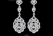 14K White Gold P Sparkly Crystal Chandelier Earrings Women Bridal Jewellery