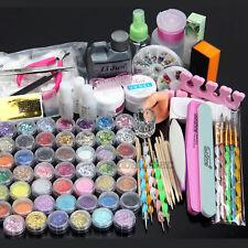 48 Acrylic Powder Liquid Nail Art Care kit UV Gel Glitter Clipper Tips DIY Tools