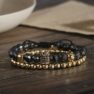 2Pcs/ Set Crown Men Fashion Hematite Stone Copper Bead Bracelets Women Jewelry