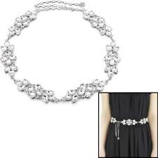 Damen Mädchen Strass Gürtel Diamantenkette Taille Braut Hochzeit Silber 782