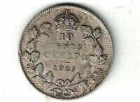 CANADA 1929 TEN CENTS DIME KING GEORGE V .800 SILVER COIN CANADIAN