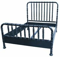 """85"""" Bed Queen Solid Mahogany Hand Rubbed Black Finish Hand Turned Frame"""