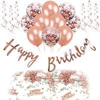 Happy Birthday Geburtstag Party Deko Set Girlande Ballons Konfetti uvm. Roségold
