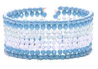 Cute Ladies Baby Blue / Clear Beaded Multi Row Bracelet Set Unique (Zx68)