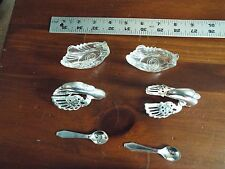 Pair Swan Salt  and pepper servers Cyst Silver Plate Hinged Wings Italy