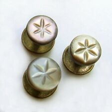 3 CARVED ABALONE SHELL  SHIRT STUD BUTTONS STAR DESIGN
