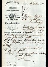 """LAVAL (53) ARTICLES PHOTOGRAPHIQUES / PARFUMERIE """"Hamel JALLIER"""" Lettre en 1912"""