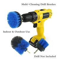 3pc Drill Powered Brush Cleaner Set Electric Drill Power Scrubber Tool Kit