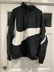 Nike Men's L Big Swoosh Woven Statement Jacket Track Top Black White AR3132-010