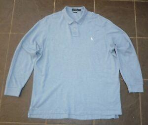 2XL Fit Mens Ralph Lauren Long Sleeved Blue Polo Shirt