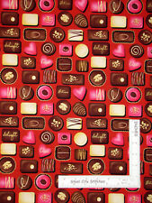 Chocolate Candy Candies Heart Red Cotton Fabric HG&Co Forever Yours By The Yard
