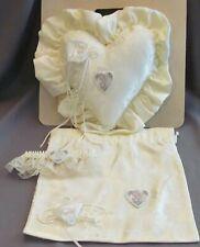 Beautiful Precious Moments Wedding Ring Bearer Pillow Iv Heart, Garter & Purse