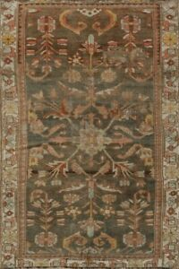 Pre-1900 Antique Geometric Bakhtiari Area Rug Classic Hand-Knotted 4x6 Carpet