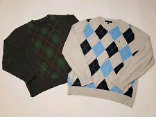 Tommy Hilfiger Green Grey Blue Argyle V-Neck Sweaters Mens XL Lot Of 2