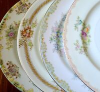 """4 Vtg Mismatched China 7.5"""" Salad Plates - Green Florals w/ Gold Trim - Japan"""