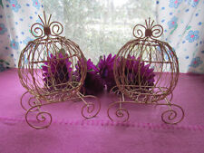 Set of 2 Gold Mini Cinderella Carriage for Wedding or Birthday Decorations