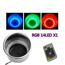 1x RGB 14LED Stainless Steel Cup Drink Holder+Remote For Drain Marine Boat Truck