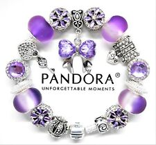 Authentic Pandora Silver Charm Bracelet FAMILY LOVE PURPLE HEART European Beads.