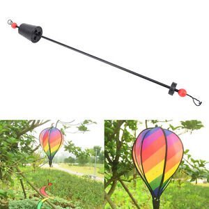 Rainbow Stripe Windsock Hot Air Balloon Wind Spinner Garden Yard Outdoor Deco*UO