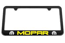 MOPAR Satin Black License Plate Frame - Yellow / Silver Engraved Logo - USA Made