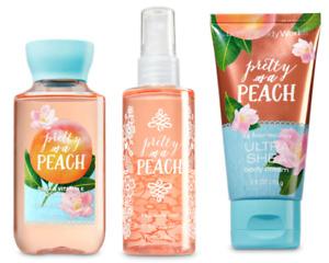 3pc Bath & Body Works PRETTY AS A PEACH Mini Shower Gel-Body Mist-Body Cream NEW