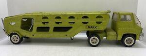 Vintage Pressed Steel Marx Car Hauler Transporter Toy Truck Tractor Trailer