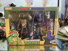 NECA TMNT Teenage Mutant Ninja Turtles Raphael v Foot Soldier Figure Damaged Box