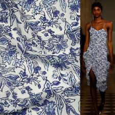 China design China print silk cotton blended fabric blue flower pattern,SCT475