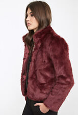 NWT Forever 21 Exclusive Burgundy Wine Boxy Fur Jacket (BEAUTIFUL!) Size Small