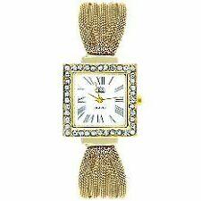 Cussi Women's Gold Stainless Steel Diamond Frame Alloy Band Bracelet Watch
