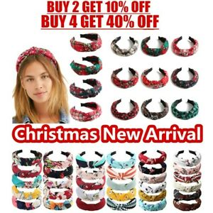 Adult Christmas Twist Knot Head Wrap Headband Knotted Hairband Ladies Hair Bands