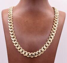 11mm para hombre cubano de Miami Royal Enlace Cadena Collar Cierre De Caja De Oro Amarillo 10K Real