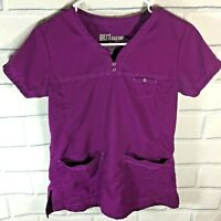 Grey's Anatomy Scrub Top Shirt Size XS Purple Medical Uniform Nurse (S79)