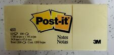 Post-it Notes 653, 1 3/8 in x 1 7/8 in, Canary Yellow, 12 Pack 100 Each